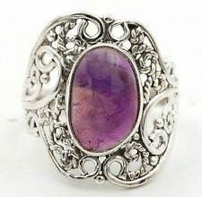 Natural Amethyst 925 Solid Sterling Silver Ring Jewelry Sz 6 CT24-6