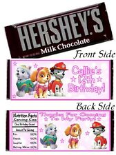 12 Paw Patrol Girl Pink Birthday Party Candy Hershey Bar Wrappers Skye Everest