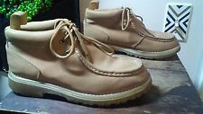 Men's 7.5 W Tan Smooth Finish Faux Suede Leather Moc Toe Ankle Boots Lace Up