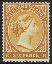 FALKLAND ISLANDS 1891 QV 6D WMK CROWN CA REVERSED