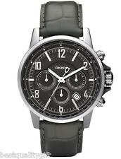 DKNY FOREST GREEN CROC LEATHER+SILVER,GUNMETAL TONE CHRONO+DATE WATCH NY1464