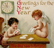 ANGELS NEW YEAR Fortune Candles Clock IAP Postcard EMB Gold Clapsaddle?