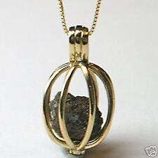 1+ Carat Rough Diamonds 14K Yellow Gold Necklace Cage