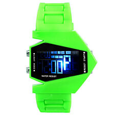 Sports LED Stealth Aircraft PILOT with GREEN Silicone Strap chronograph Watch