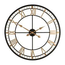 Skeleton Wall Clock Vintage Roman Numerals Black Metal Traditional Time Piece