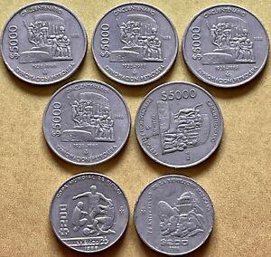 Mexico Peso Coin Lot Including 5 1988 5000 Pesos, 40 Cincuenta 50 Centavos Coins