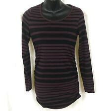 A Pea In the Pod Womens XS Ruched Maternity Shirt LS Striped
