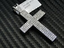 Cross Pendant Charm 925 Silver White Gold Finish Simulated Diamond Micro Pave