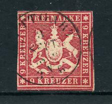 WURTTEMBERG - 1857 - LOTTO/24273 - 9 K. ROSA CON FILO DI SETA - USATO