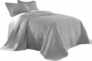 Chezmoi Collection Kingston 3-Piece Oversized Bedspread Coverlet Set (King, Gray