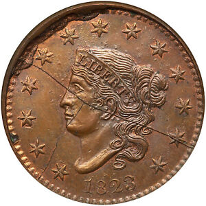 1823 RESTRIKE NGC MS 64 BN CAC Matron or Coronet Head Large Cent Coin 1c