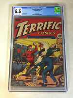 TERRIFIC COMICS #3 CGC 5.5 RARE GERBER 8, L.B.COLE, 1944, BOOMERANG!!!