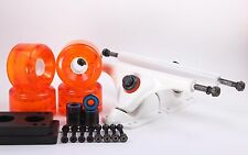 65mm 78a Clear Orange Longboard Wheels and White Reverse Kingpin Truck Combo Set