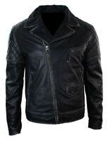 Men's Marlon Brando Style Classic Black Distressed Biker Cow Hide Leather Jacket