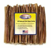 "25 Count 6"" ULTRA-THIN Shadow River USA STEER Bully Sticks Dog Treats Chew"
