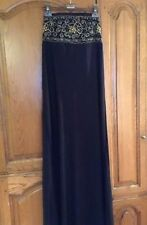 Long Black Maxi Dress With Elastic Top With  Gold Embroidery Detail Size S/M