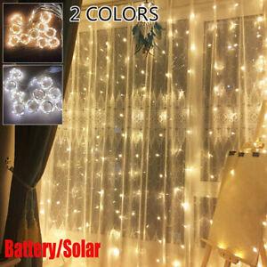 200 300LED Battery/Solar Curtain Fairy String Lights Garden Xmas Party Decor