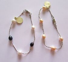 PEARL BRACELETS- set of two- purple & white -cream color-freshwater pearls