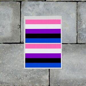 2 x Gender-Fluid Flag Stickers - Decals - LGBTQ - Pride - 66mm x 100mm - SKU7161