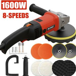 1600W Electric Polisher Car Sander Machine Kit Buffer Pad Sponge Polishing Waxer