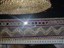 Espejo Púrpura Encaje Oro Indio Boda Apliques De Cristal De Cinta traje de la danza