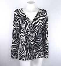 Chicos Womens Size 2 Cardigan Zebra Animal Print Button-up Embellished Deep Vee