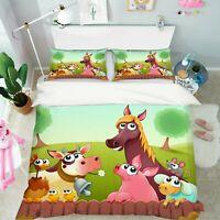 3D Horse Cow ZHUA1187 Bed Pillowcases Quilt Duvet Cover Set Queen King Zoe