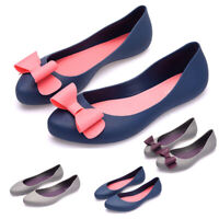UK Womens Ladies Flat Sandals Slip On Pumps Bow Jelly Shoes Soft Footed Size