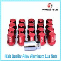 20pcs Red 42mm Aluminum Racing Wheel Lug Nuts M12x1.5 For Toyota Honda Ford