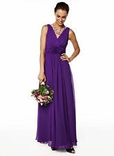 BHS Bridesmaid Dress Ruby Long Purple Chiffon Size 8/10 ( 2 available )