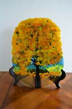 ANNE NYE Beautiful Colorful Fused Glass Art Sculpture Signed RARE One of a Kind