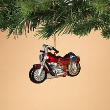 "2308200 5"" Western Motorcylce Glass Christmas Ornament Biker Bike Road Warrior"