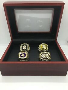 4 Pcs Minnesota Vikings Championship Ring Set with Wooden Display Box