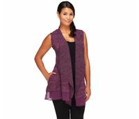 LOGO by Lori Goldstein Open Front Vest with Chiffon Trim Vineyard XS A255773 J