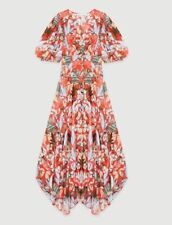 AUTH Maje ASYMMETRIC DRESS IN PRINTED CREPE Red Blush1,2,3,