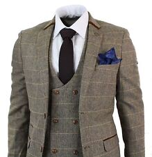 Mens 3 Piece Herringbone Tweed Tan Brown Check Suit Tailored Fit Double Classic