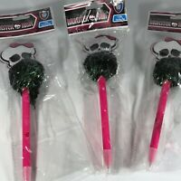 Lot of 3 MONSTER HIGH Freaky Pom-Pom Skull Pens New 2014  w Tags Free Shipping