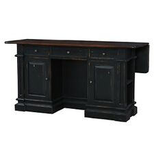 Black Distressed Kitchen Island Counter Drop Leaf Bar Top