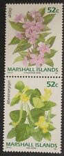 1991 Scott 395-396 Marshall Islands Flowers pair of two 52 cent stamps at Fv