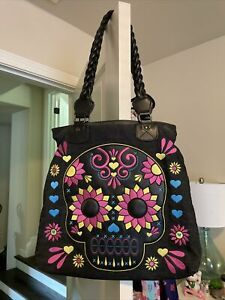 loungefly large sugar skull tote With Braided Leather Straps