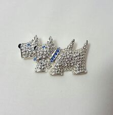 Napier Brooch - Scottish Terriers - Silver White Blue Scottie Dog Brooch Pin