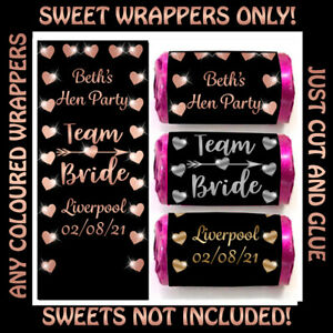 * Personalised TEAM BRIDE Mini Love Heart Sweet WRAPPERS ONLY 4 Hen Party Tribe