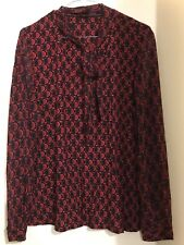 Jacqui E Red & Black Tie Neck Blouse, Never worn, without tags, XL