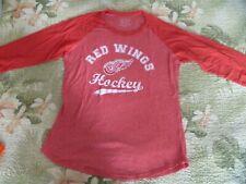Womens Majestic Threads Detroit Red Wings Hockey Shirt Baseball Sleeves Nhl