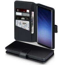Luxury Real Leather Wallet Case for Samsung Galaxy S9 Plus - Black