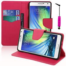 Housse Etui Portefeuille ROSE Effet Tissu Samsung Galaxy A7/ A7 Duos SM-A700