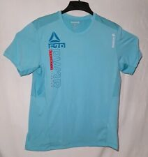 Reebok Playice Men's Large Workout Runners Gym Shirt Aqua Green