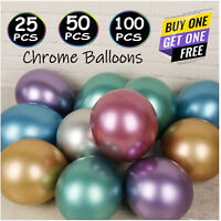 "10-50 PEARL LATEX METALLIC CHROME BALLOONS 5"" Helium Baloons Birthday Party bal"