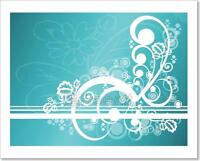 Abstract Teal Floral Art Print Home Decor Wall Art Poster - C