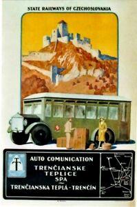 Original vintage poster SLOVAKIA COACH TOURS TRENCIN CASTLE c.1910